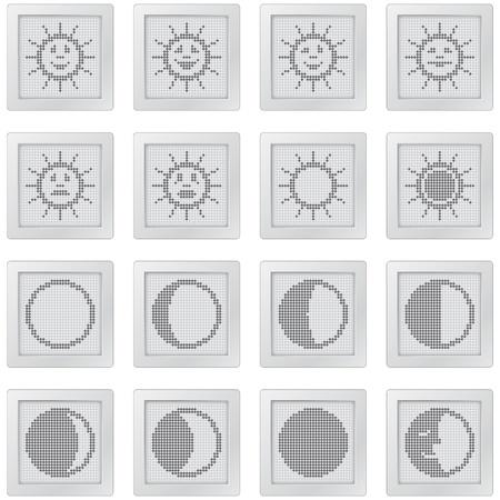 botones de plástico con soles y lunas. conjunto de iconos con el punto a base de símbolos de sol con emoticones y fases de la luna para las pantallas de control e información y diseño web. más iconos están disponibles
