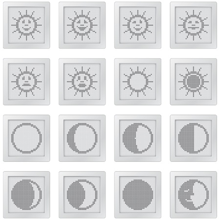 moon phases: plastic buttons with suns and moons. icon set with dot-based symbols of sun with smilies and moon phases for control and info screens and web design. more icons are available