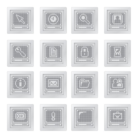 plastic buttons with terminals. icon set with dot-based communication and telecommunication symbols for control and info screens and web design. more icons are available Vector