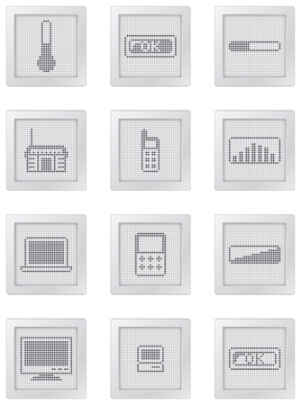 tvset: grey plastic buttons with dot-based icons and gadgets symbols in grey shades