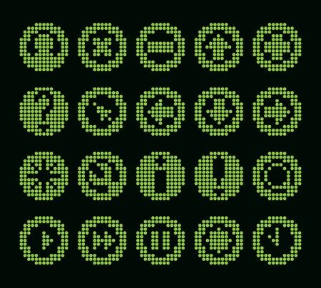 get up: in bianco e nero fluorescente dot-based set di icone per le schermate di controllo e web design. pi� icone sono disponibili