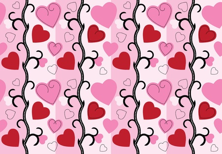 valentine background with hearts and roses Vector