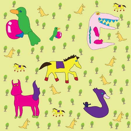 dobbin: wonderland forest with colorful animals and monsters Illustration