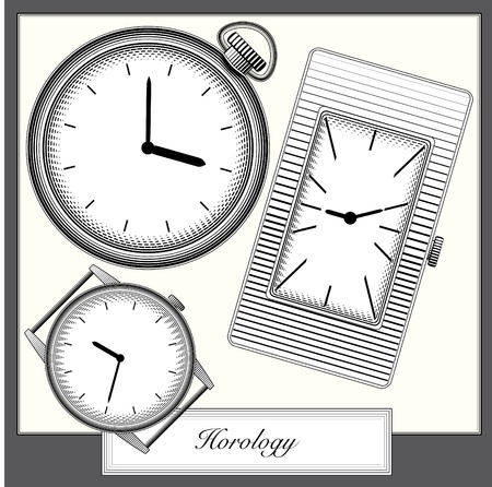 timekeeper: engraving style picture watches collection  Illustration