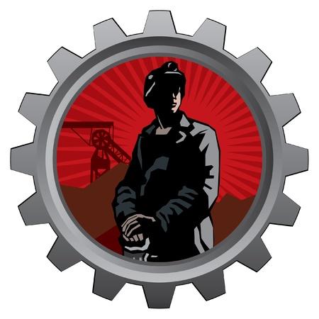 badge met mijnwerker met rode zonsopgang achtergrond Vector Illustratie