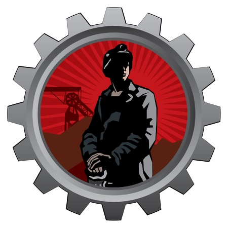 mine: badge with coal miner with red sunrise background