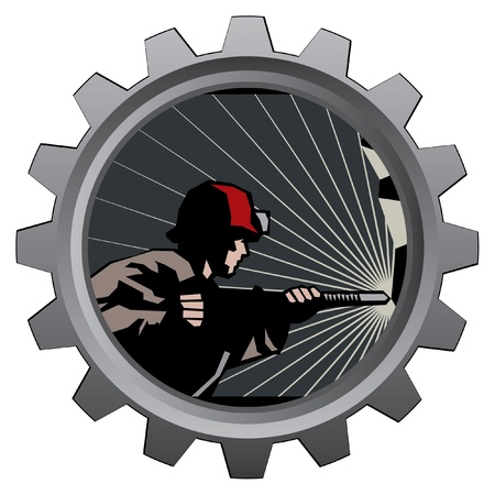 badge with coal miner in mine Vector