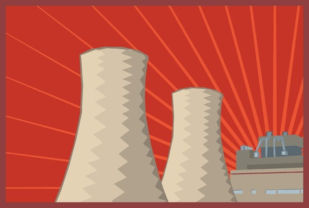 coal plant: poster style coal power plant illustration