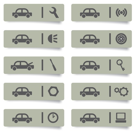 auto service stickers and icons set for web design and high quality print Vector