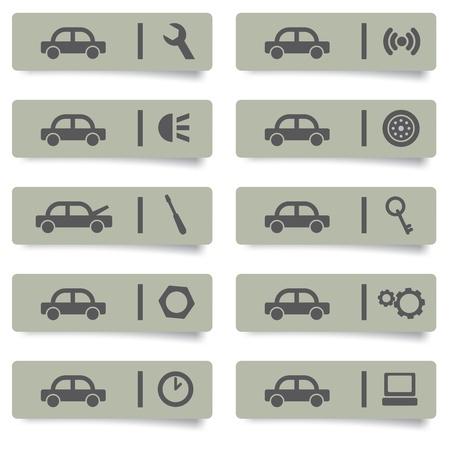 herramientas de mecánica: pegatinas de servicios para automóviles y iconos fijada para el diseño web y de impresión de alta calidad Vectores