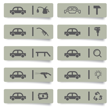 waste recovery: auto service stickers and icons set for web design and high quality print