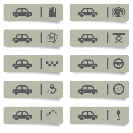 music machine: auto service stickers and icons set for web design and high quality print