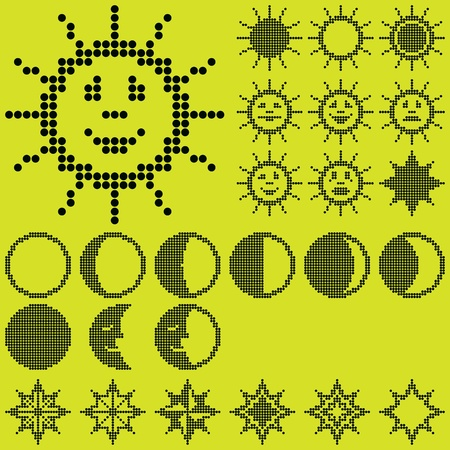 monochrome fluorescent dot-based astronomical icon set with sun. moon and stars for control screens and web design. more icons are available Stock Vector - 12409732