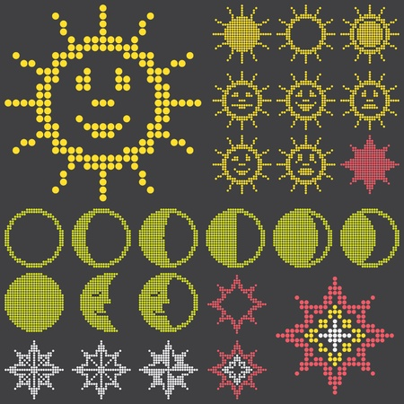 luminescent: fluorescent dot-based astronomical icons and signs and symbols set with sun. moon and stars for control screens and web design. more icons are available. vector illustation