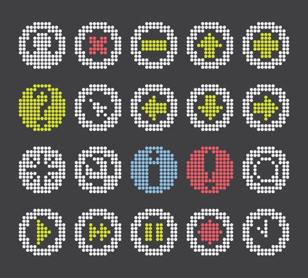 fast forward: fluorescent dot-based icons and signs and symbols set for control screens and web design. more icons are available. vector illustration Illustration