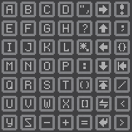 monochrome fluorescent dot-based keyboard icons set for control screens, mobile gadgets and web design. more icons are available. vector illustration Vector