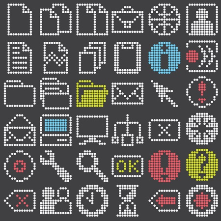 fluorescent dot-based icons and signs and symbols big set for control screens, moblile gadgets, terminals and web design. more icons are available. vector illustration Vector