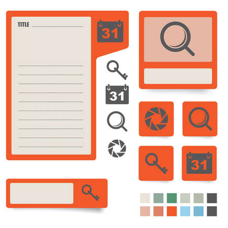 icons and paper stickers with instruments, components and features  for high quality print, web design and office work  easy color editing  more icons and symbols are available