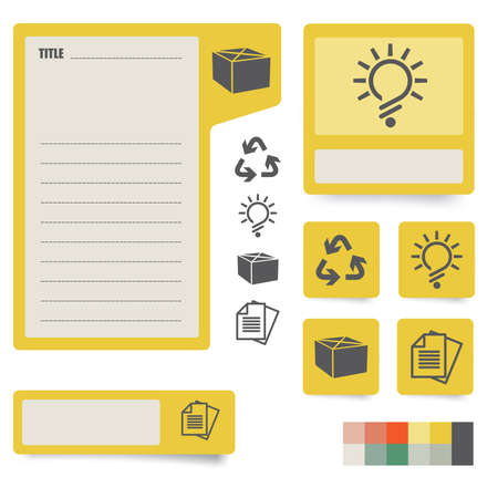 icons and paper stickers with instruments, components and features  for high quality print, web design and office work  easy color editing  more icons and symbols are available Stock Vector - 12862384