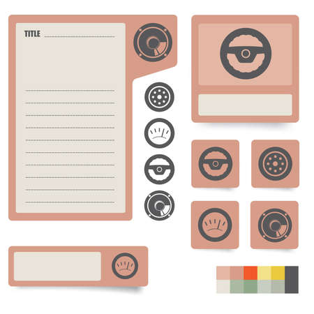 icons and paper stickers with instruments, components and features  for high quality print, web design and office work  easy color editing  more icons and symbols are available Stock Vector - 12862395