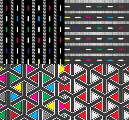 jointless: four textile pattern with lines, color spots and triangles