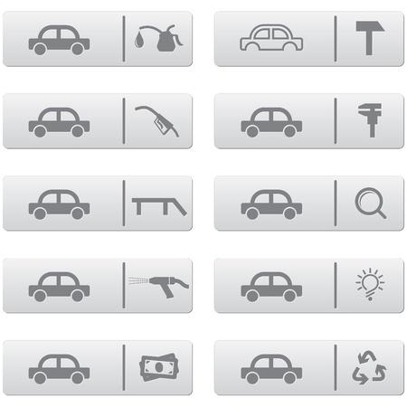 wijzigen: Auto Service borden en pictogrammen over grijze plastic knoppen ingesteld voor web design en hoge kwaliteit af te drukken