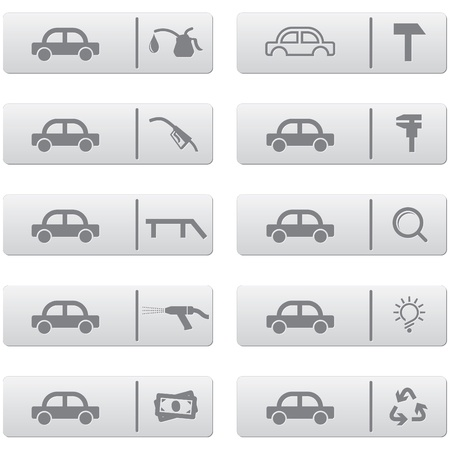 waste recovery: auto service signs and icons over grey plastic buttons set for web design and high quality print