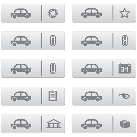 Auto-Service-Zeichen und Symbole auf grauem Kunststoff Knöpfe für Web-Design und hochwertiger Druck gesetzt Illustration