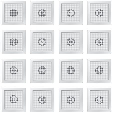 outputs: plastic buttons with icon set with dot-based symbols for control and info screens and web design  Illustration