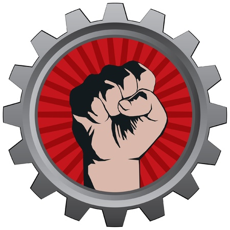labor strong: metal bage with fist vector illustration