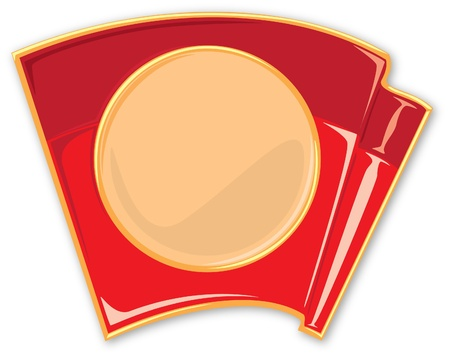 enamel: porcelain enamel red flag vector illustration