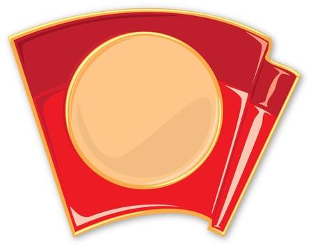 ideograph: porcelain enamel red flag vector illustration