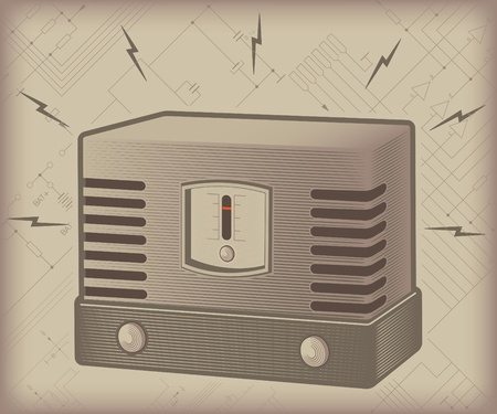 old lamp radio set on backround with electric scheme Vector