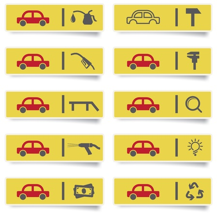 waste recovery: auto service stickers with many-colored icons set for web design and high quality print