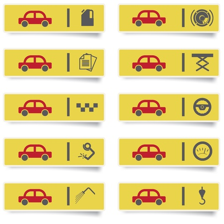 auto service stickers with many-colored icons set for web design and high quality print Stock Vector - 13522188