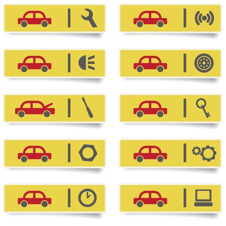 auto service stickers with many-colored icons set for web design and high quality print Stock Vector - 13522189