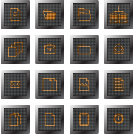 dark plastic buttons with icon set with dot-based symbols for control and info screens and web design and high quality print Stock Vector - 13767865