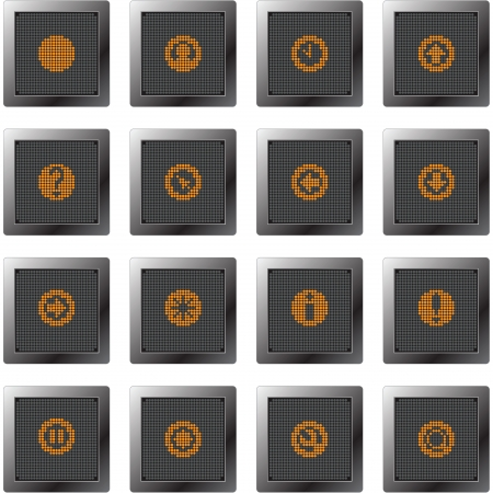 dark plastic buttons with icon set with dot-based orange symbols for control and info screens and web design and high quality print Vector