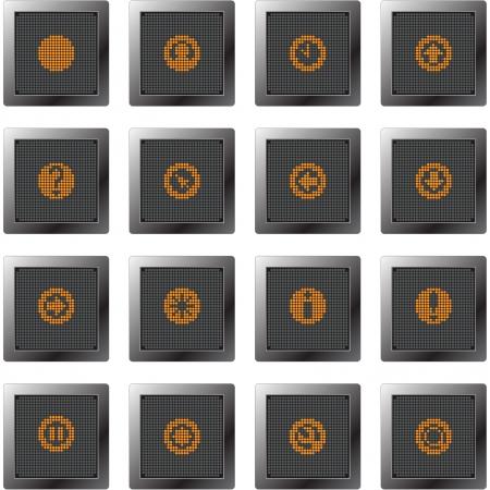 get up: scuro bottoni in plastica con set di icone con i simboli arancioni dot-based per schermi di controllo e le informazioni e il web design e stampa di alta qualit�