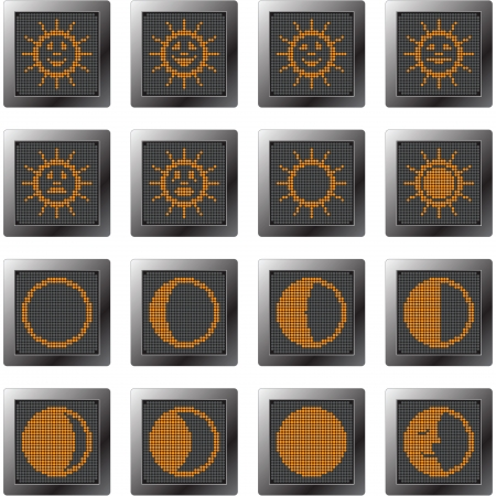 moon phases: dark plastic buttons with orange suns and moons  icon set with dot-based symbols of sun with smilies and moon phases for control and info screens,  web design and high quality print