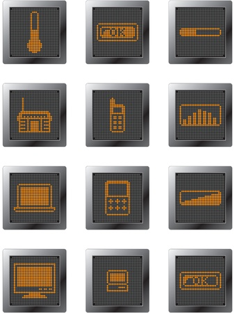 input output: black plastic buttons with orange dot-based icons and gadgets symbols in grey shades for web design and high guality print Illustration