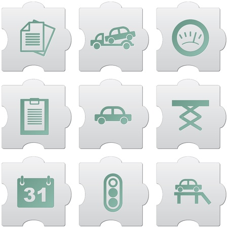 unit: grey puzzle buttons with green signs and icons for web design, print, high quality print and for marking use