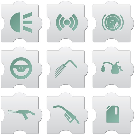 lubricator: grey puzzle buttons with green signs and icons for web design, print, high quality print and for marking use