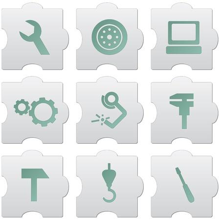 graue puzzle Tasten mit grünen Schildern und Icons für Web-Design, Print, hohe Druckqualität und zur Kennzeichnung Einsatz