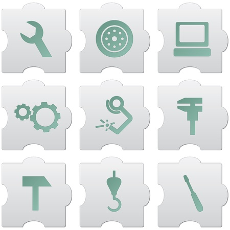 welding: grey puzzle buttons with green signs and icons for web design, print, high quality print and for marking use