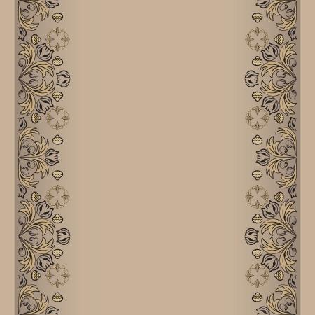 sepia Hintergrund mit floralen Elementausführungen Vektor-Illustration