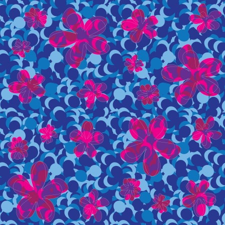 seamless abstract floral texture in blue shades and red flowers Stock Vector - 14759734