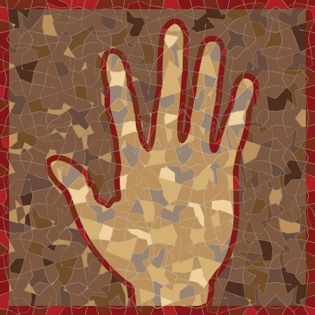 antique mosaic panel with open palm Vector
