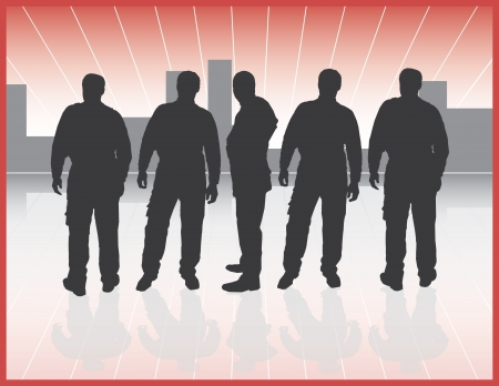 industrial worker: five silhouettes of workers with sunrise background Illustration