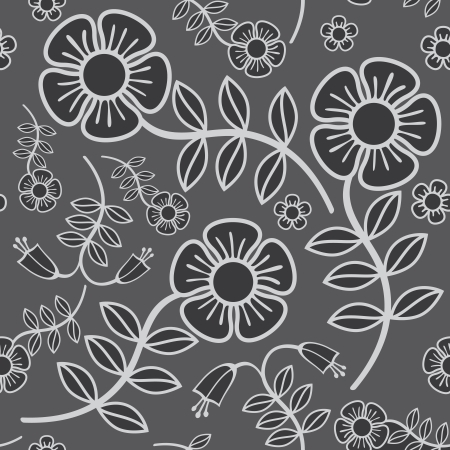 seamless background white garden flowers in grey shades Stock Vector - 14759751